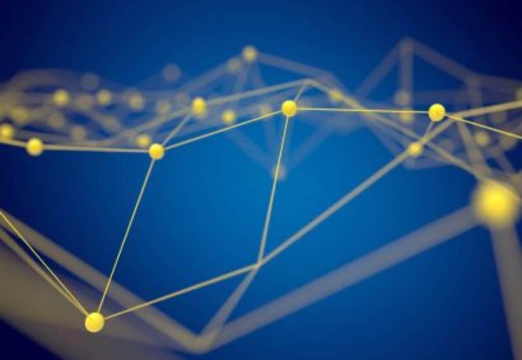 Blue and yellow network graphic