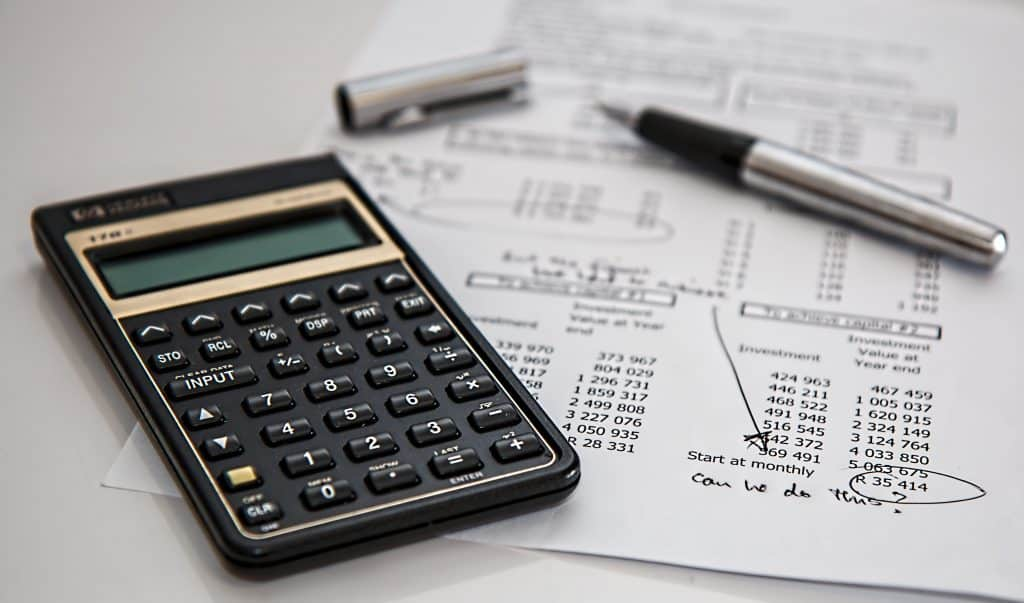 Paper financial chart and calculator