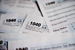 Several IRS 1040 sheets