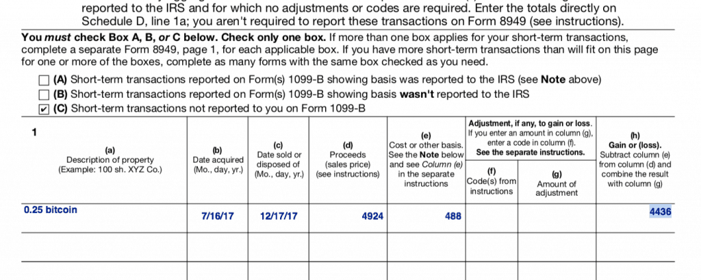 US tax form reporting a bitcoin sale of 0.25