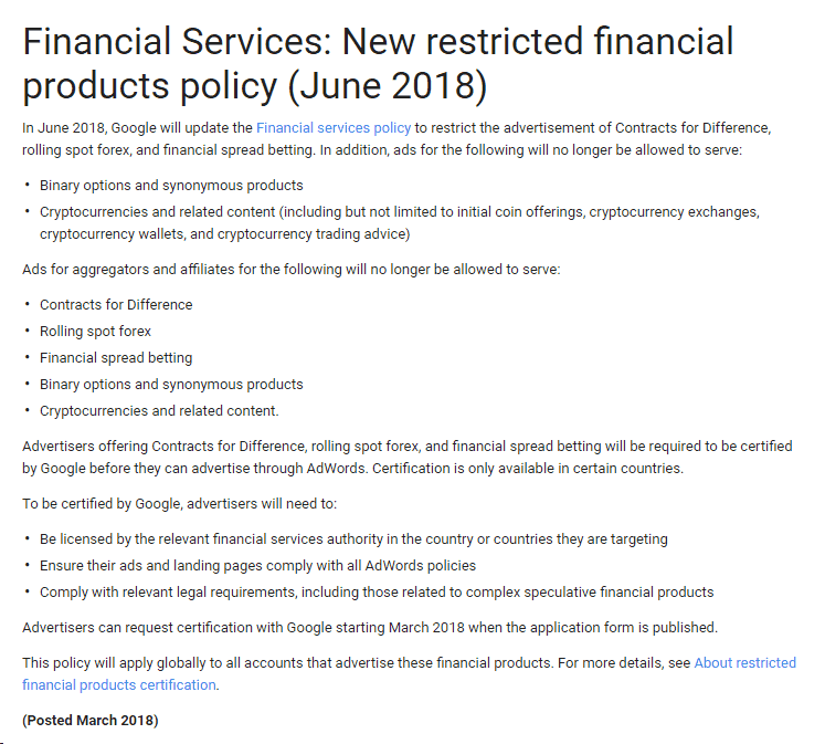 Google's New Restricted Financial Product Policy (June 2018)