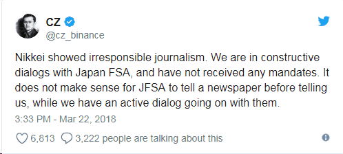 Tweet from Binance's CEO Changpeng Zhao on FSA's notice