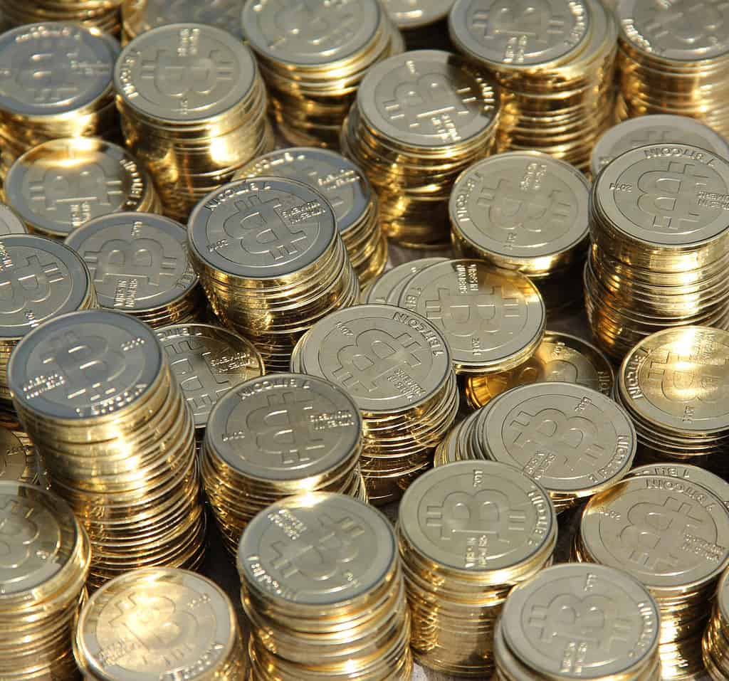 Stacks of bitcoin tokens need to be stored safely