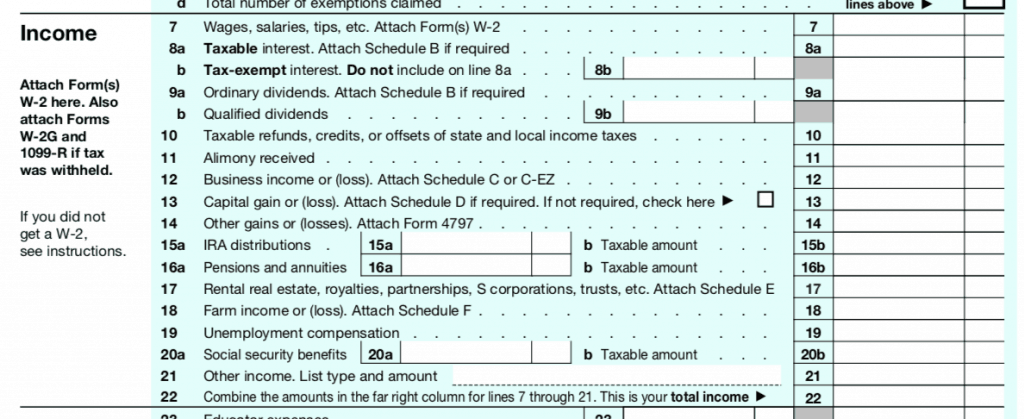 IRS 1040 Page 1 Image