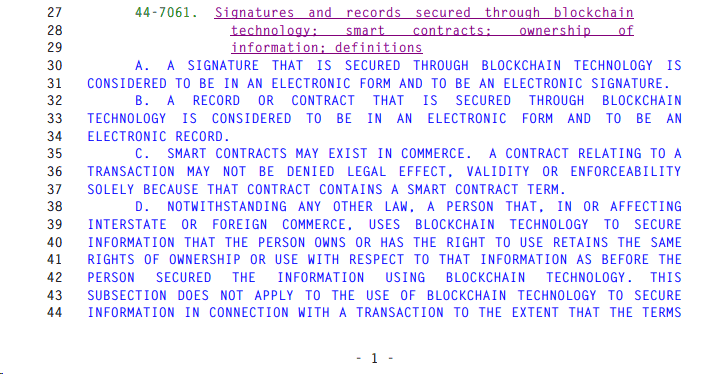 Excerpt from Arizona's Corporations/Blockchain Technology Bill