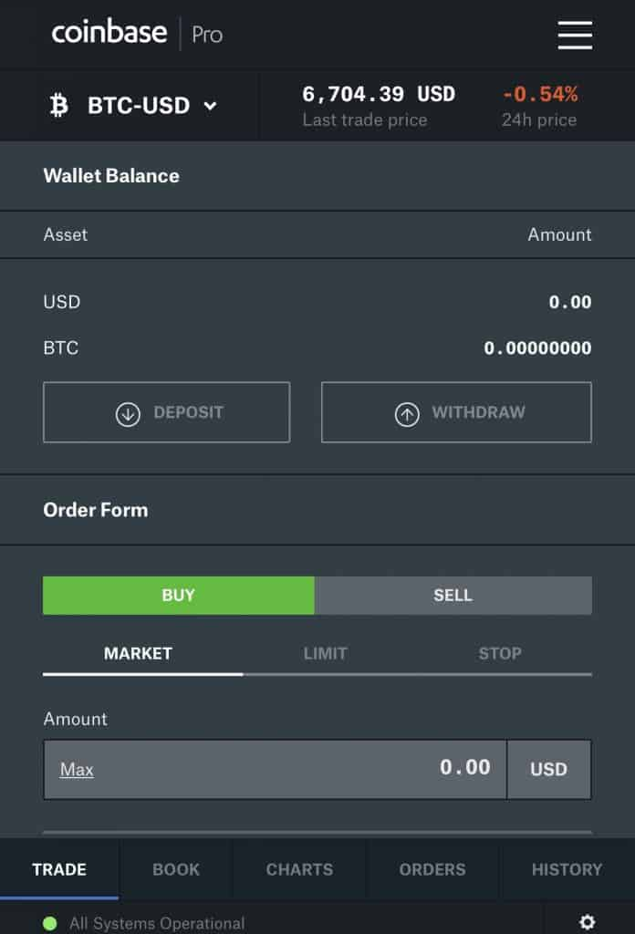 iPhone bitcoin buying screen from coinbase pro