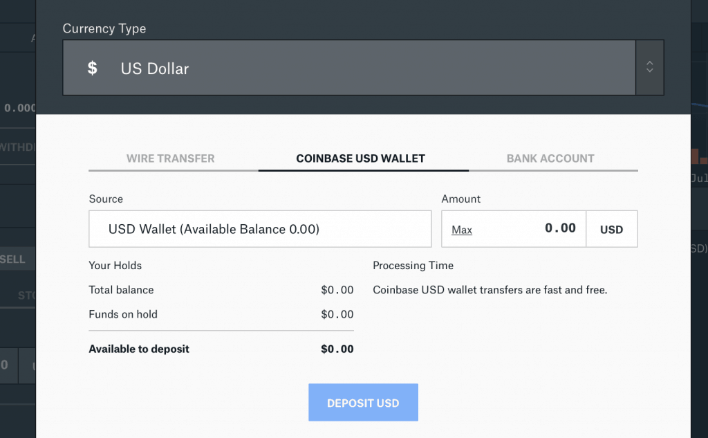 Deposit US dollar from bank or Coinbase to Pro account