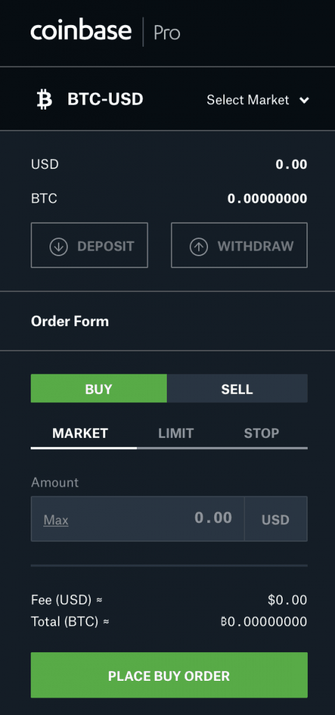 Coinbase Pro trading interface order entry