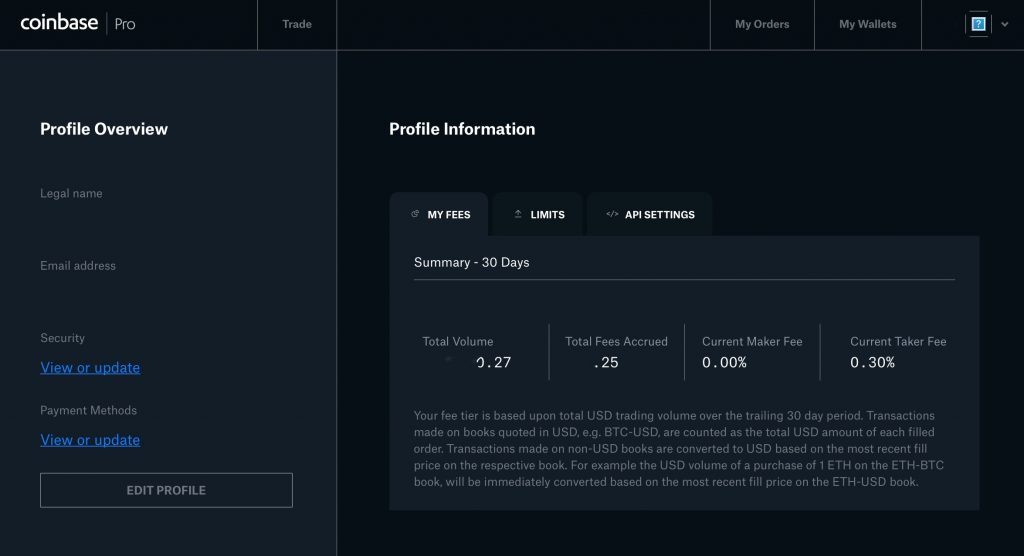 Personal profile page on Coinbase Pro
