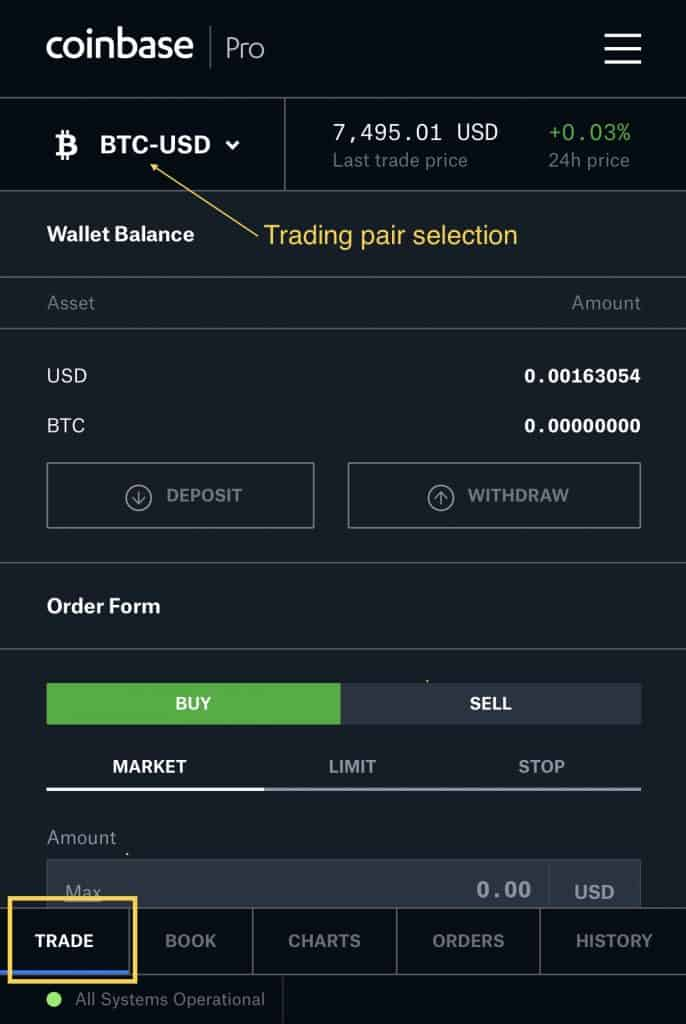 iPhone screenshot of trading page from Coinbase Pro trading interface