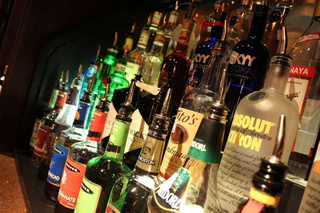 Liquor shelf at a bar