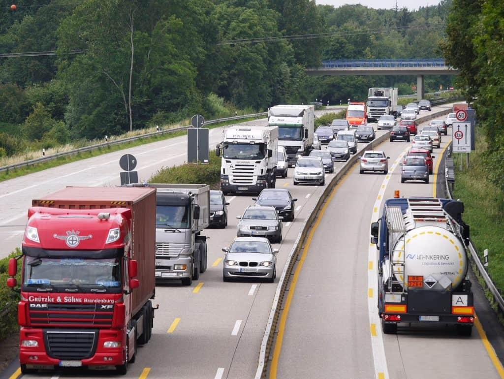 Image of semis or lorries on the road