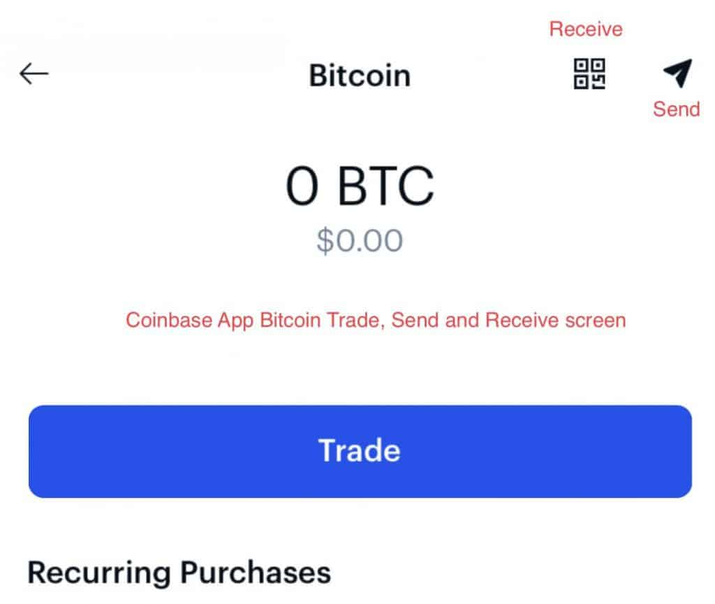 Coinbase App Bitcoin trading page photo