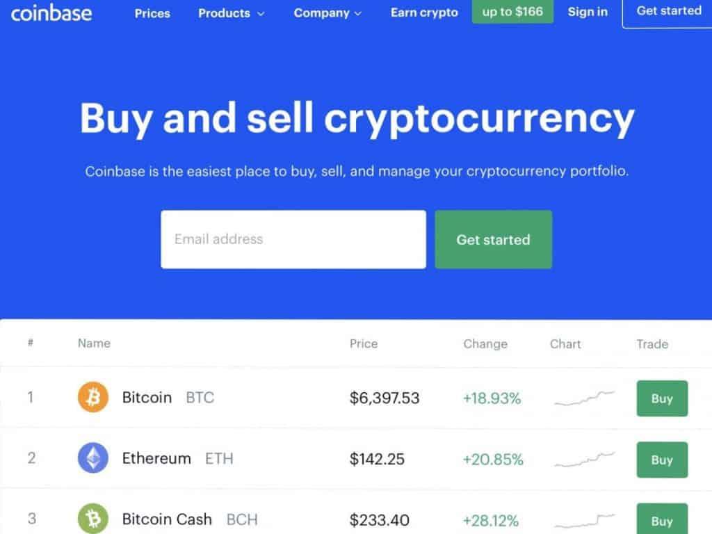 Coinbase home page photo
