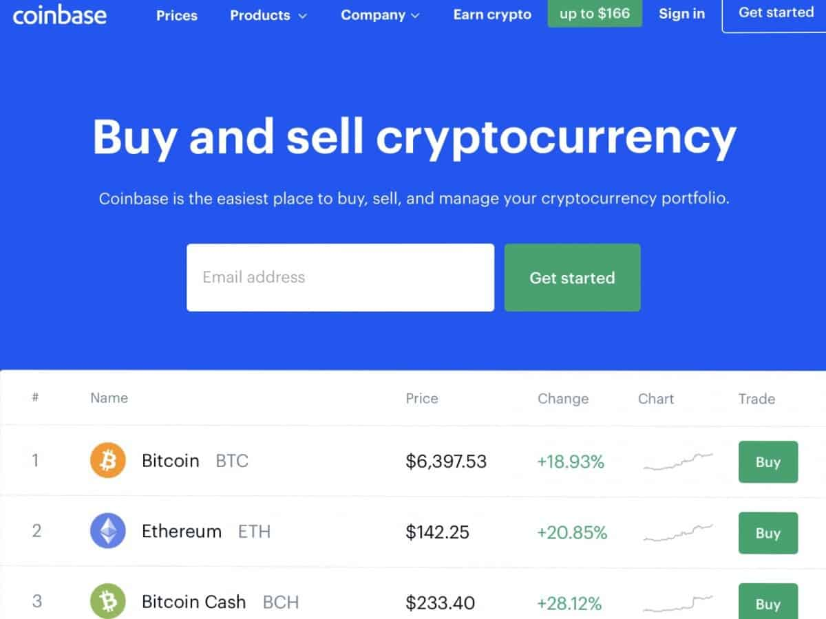Coinbase home page photo